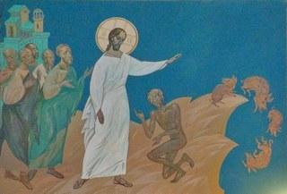 Иисус прогнел бесов в свиней