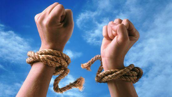 разорвать узы, веревку